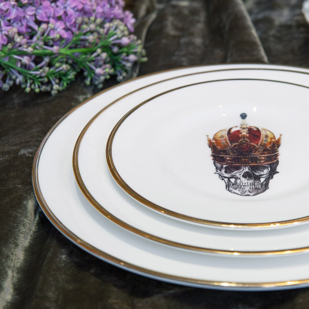 Skull ... & Skull in Red Crown Bone China Plate | Melody Rose London