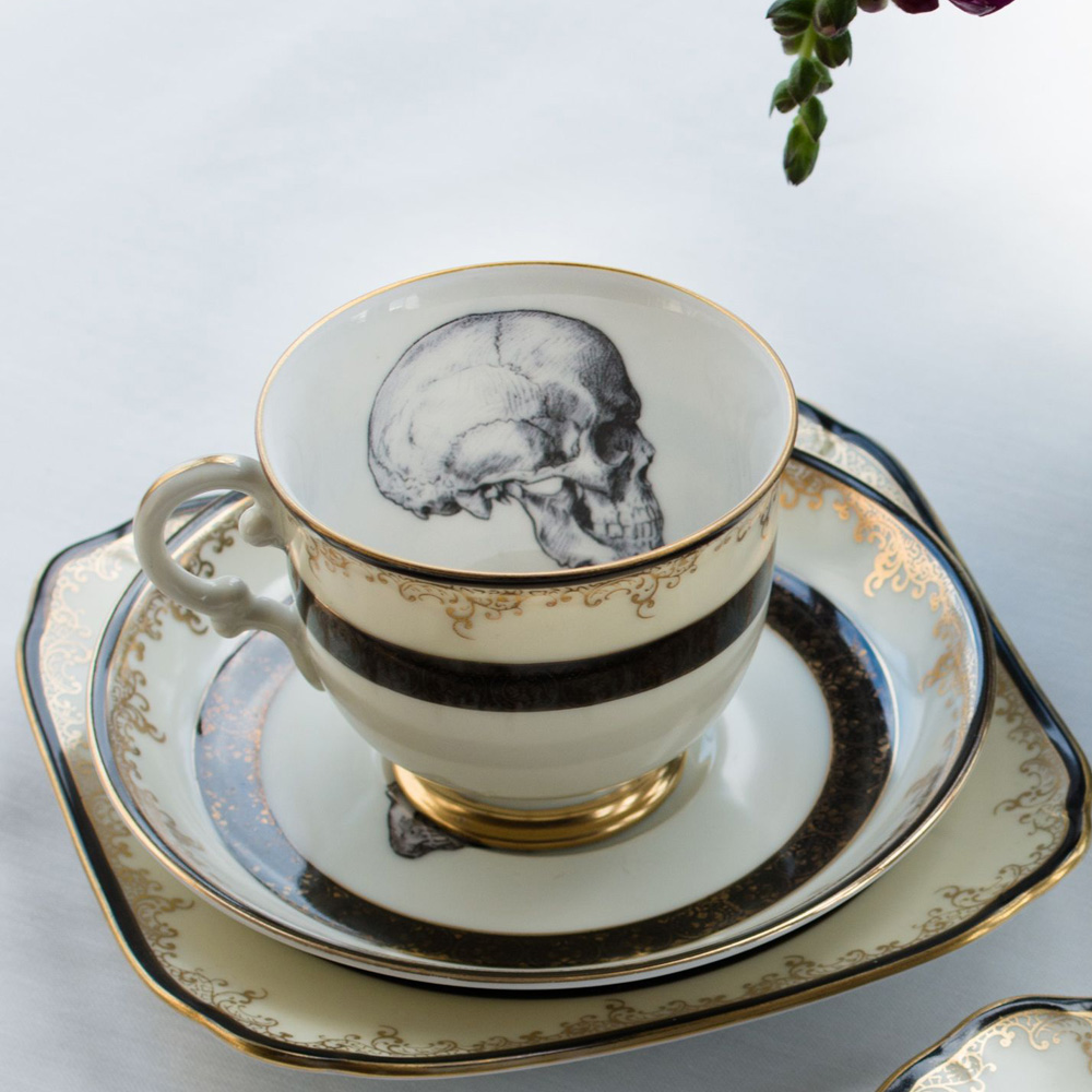 Upcycled Vintage Gothic Skull Teacup and Saucer | Melody Rose London