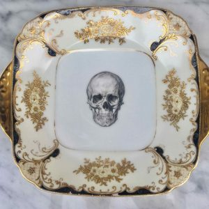 Upcycled Vintage Gothic Skull Cake Plate & Upcycled Vintage Gothic Skull Teacup and Saucer | Melody Rose London