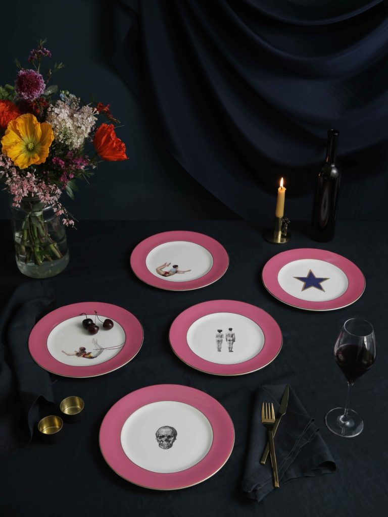 Melody Rose Raspberry Pink lower dinner plates
